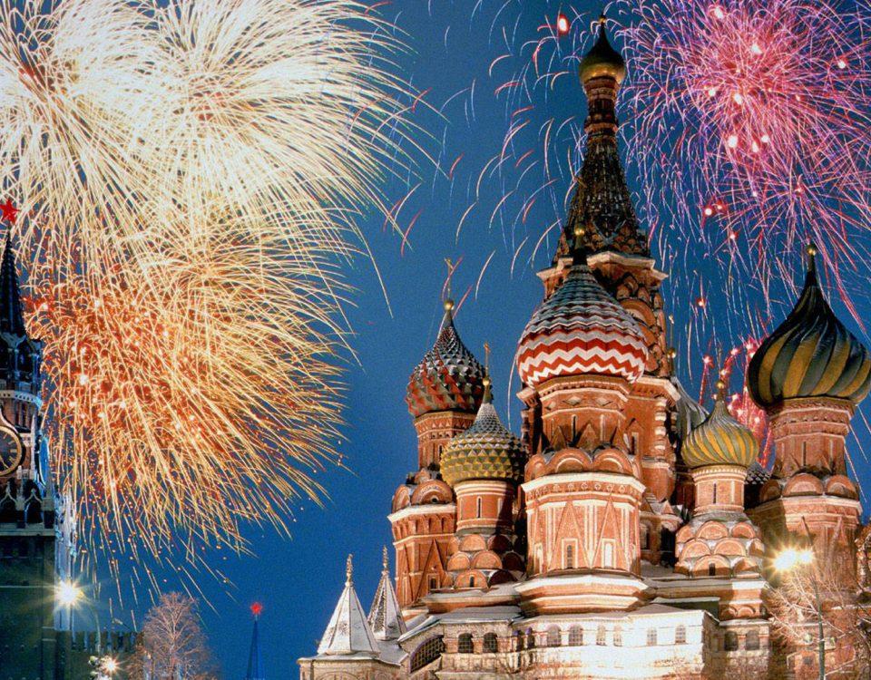 fuochi d'artificio sulla piazza Rossa